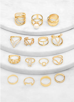 Set of 15 Metallic Rings - 1123062928407