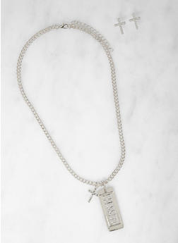 Blessed Tag Necklace with Cross Stud Earrings - 1123062928494