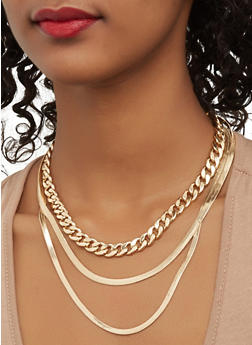 Layered Metallic Necklace and Stud Earrings Set - 1123062928902