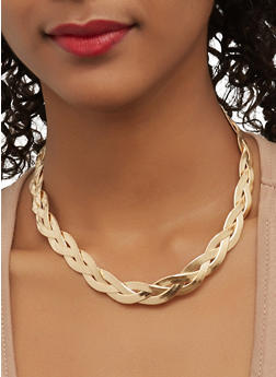 Braided Metallic Necklace with Stud Earrings - 1123062928905