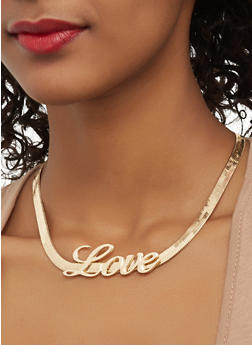 Metallic Love Necklace with Stud Earrings - 1123062928907