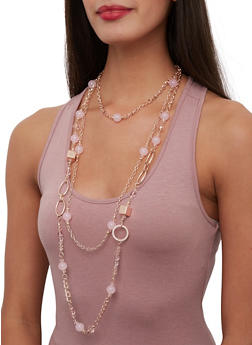 Beaded Layered Chain Necklace with Drop Earrings - 1123062929203