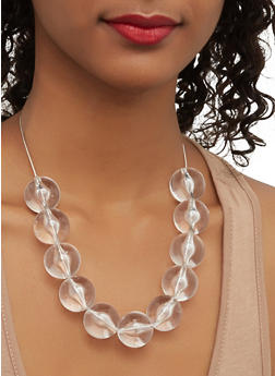 Large Beaded Necklace with Drop Earrings - 1123062929621