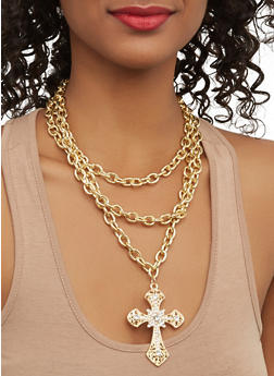 Rhinestone Cross Chain Necklace with Stud Earrings - 1123062929750