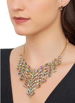 Jeweled Rhinestone Necklace with Stud Earrings - 1123062929821