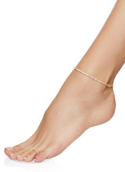 Rhinestone Stretch Anklet and Toe Ring - 1123063092444