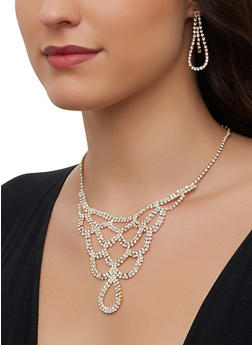 Rhinestone Loop Bib Necklace and Drop Earrings - 1123071210039