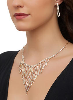 Rhinestone Statement Necklace and Drop Earrings - 1123071210059