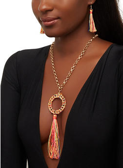 Tassel Wrapped Chain Necklace and Earrings - 1123071210309