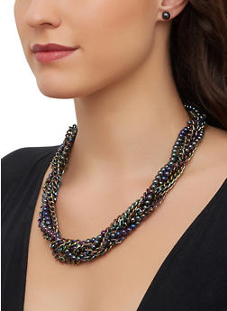 Braided Beaded Chain Necklace with Stud Earrings - 1123071210546