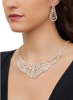 Rhinestone Collar Necklace and Teardrop Earrings - 1123071214062