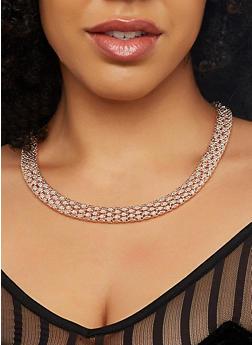 Metallic Chain Necklaces and Hoop Earrings Set - 1123071432018