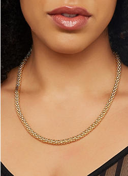 Metallic Chain Necklaces and Hoop Earrings Set - 1123071432018