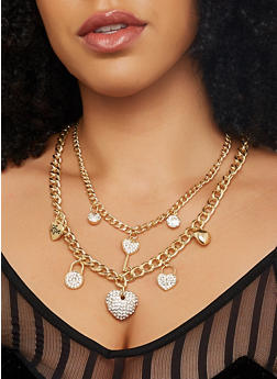 Layered Charm Necklace with Bracelet and Earrings - 1123071432019