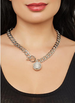Rhinestone Curb Chain Necklace with Bracelet and Earrings - 1123071432451