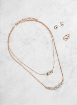 Layered Chain Necklace with Ring and Stud Earrings - 1123071433416