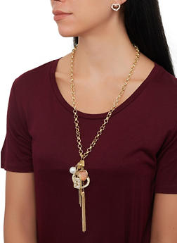 Rhinestone Charm Necklace with Stud Earring Trio - 1123071433453