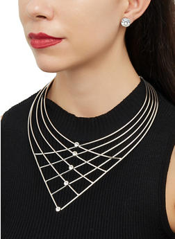 Caged Rhinestone Statement Necklace and Earrings - 1123071433900