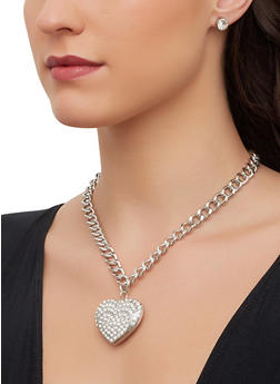 Rhinestone Heart Chain Necklace with Earrings - 1123071434205