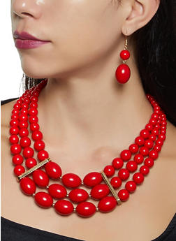 Beaded Stretch Bracelets with Necklace and Drop Earrings - 1123071434304