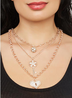 Charm Layered Necklace with Stud Earrings - 1123071434311