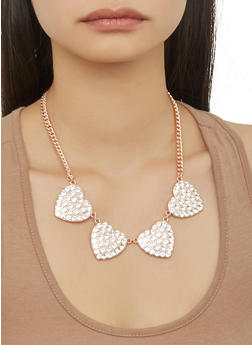 Rhinestone Heart Necklace and Earrings Set - 1123071434323