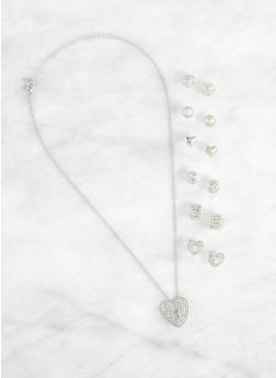 Set of 6 Stud Earrings with Heart Charm Necklace - 1123071434350