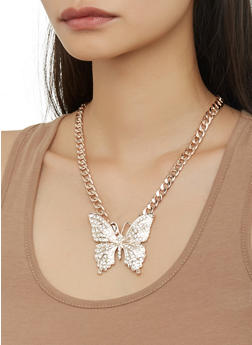 Butterfly Curb Chain Necklace and Stud Earrings Set - 1123071434366