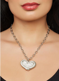 Rhinestone Heart Charm Necklace and Stud Earrings - 1123071434399