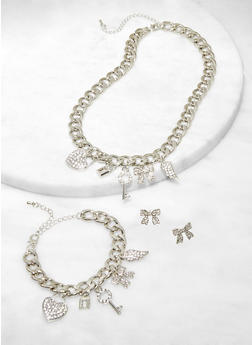 Rhinestone Curb Chain Charm Necklace with Bracelet and Stud Earrings - 1123071436105