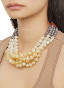 Layered Beaded Necklace with Earrings - 1123071437318