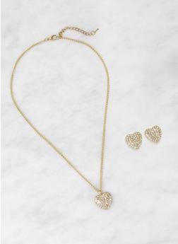 Rhinestone Heart Charm and Stud Earrings - 1123071438815