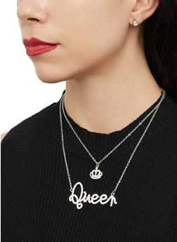Queen Rhinestone Charm Necklace and Earrings - 1123071439000