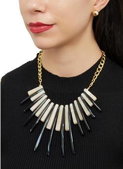 Plastic Stick Fringe Bib Necklace with Stud Earrings - 1123071439200