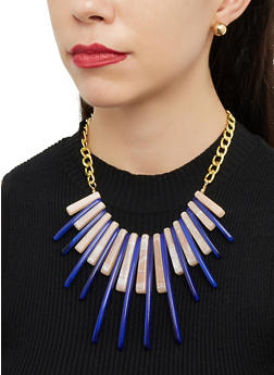 Plastic Stick Fringe Bib Necklace with Stud Earrings - 1123071439200