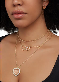 Pave Heart Layered Necklace with Stud Earring Trio - 1123072690878