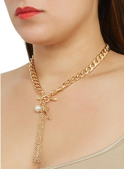 Curb Chain Charm Necklace with Hoop Earrings - 1123072692226