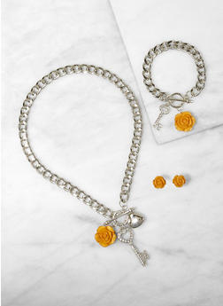 Charm Necklace with Bracelet and Stud Earrings - 1123072692253