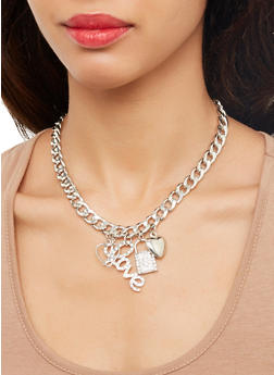 Metallic Charm Necklace with Bracelet and Stud Earrings - 1123072692255