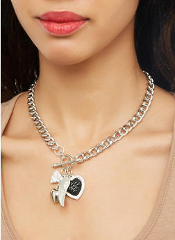 Charm Toggle Necklace with Drop Earrings - 1123072692257