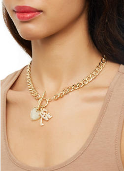 Curb Chain Charm Necklace and Drop Earrings - 1123072692261