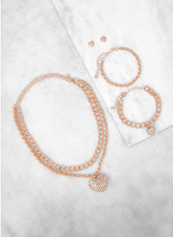 Chain Charm Necklaces with Bracelets and Earrings - 1123072692422