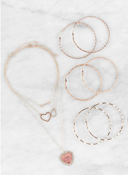 Set of Rhinestone Necklaces and Hoop Earrings - 1123072692784