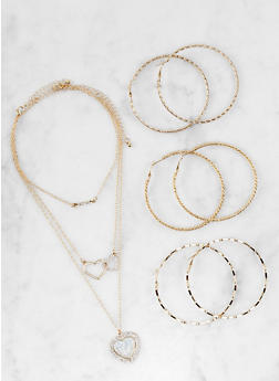 Set of Rhinestone Necklaces and Hoop Earrings - 1123072692784