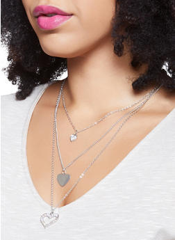Layered Charm Necklace with Hoop Earring Trio - 1123072693784