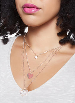Triple Heart Charm Necklace with Hoop Earrings - 1123072693784