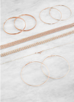 Set of Metallic Chokers and Hoop Earrings - 1123072695243