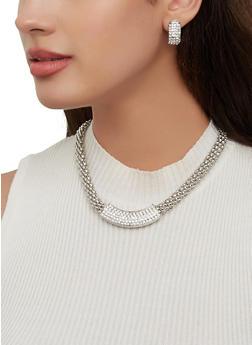 Rhinestone Metallic Mesh Necklace and Earrings Set - 1123072695750
