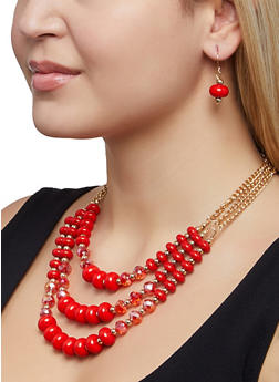Layered Beaded Necklace and Earrings - 1123072695779
