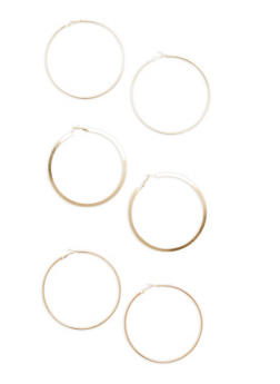 Trio of Large Hoop Earrings - 1123072695803
